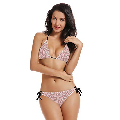Bikini-Set mit rotem Leopardenmuster für Damen, Badeanzug mit dreieckigem Oberteil und Unterteil, zweiteilig, gepolsterter Anzug, Krawatte, Schwimmset, brasilianischer Shekini Gr. 52, A008