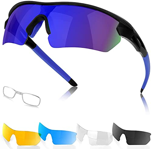 Classic Polarized Sports Sunglasses Goggles for Men Women, Ideal UV-Protective Gear Polarized Unisex Sun Glasses for Cycling, Running, Camping, Fishing, Golf, Outdoor Sports Eyewear (Black+blue)