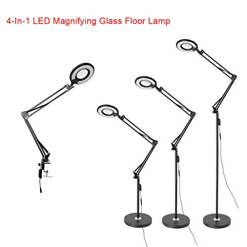 4-in-1 LED Floor Lamp with Clamp Magnifying Glass Dimmable Light Remote Control Modern Standing Lamps Adjustable Stand Swivel Arm Light for Living Room, Bedroom, Spectrum Magnifier Lens