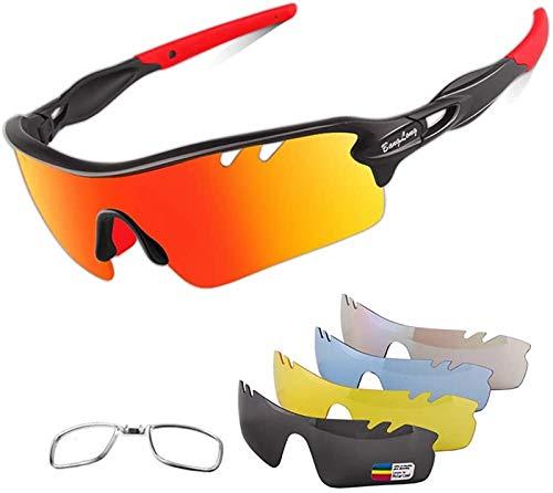 Polarisierte Sportbrillen, Männer und Frauen im Freien Sport Sonnenbrillen, Radsportbrille, ausgestattet mit 4 Sätzen ausgetauschbaren Linsen für Radfahren, Laufen, Fahren, Ballsport, Golf und Angeln