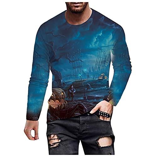 Jersey de cuello redondo para hombre, diseño 3D de Ghost City, manga larga, ajuste cómodo, para fiestas, azul, XL