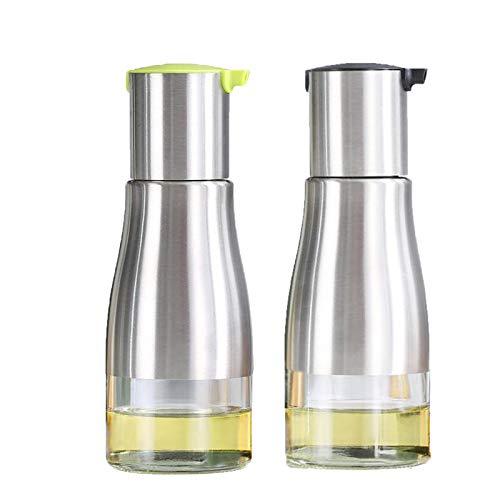 Nifogo Botella de Aceite, 320ML Dispensador de Aceite y Vinagre para Cocina, Acero Inoxidable & Vidrio, Anti-Goteo, Oliva/Vinagre/Sauce Cruet Botella (2PCS)