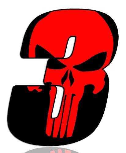Biomar Labs® Número 3 Punisher Calavera Vinilo Adhesivo Pegatina Coche Auto Motocross Moto Sport Start Racing Tuning N 353