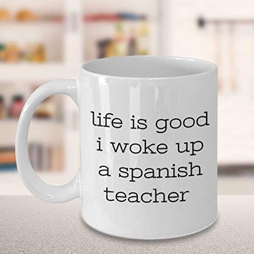Taza para profesor de español, regalo para profesor de español, regalo para profesor de español, ideal para regalo de España, gracias, idioma español, 325 ml