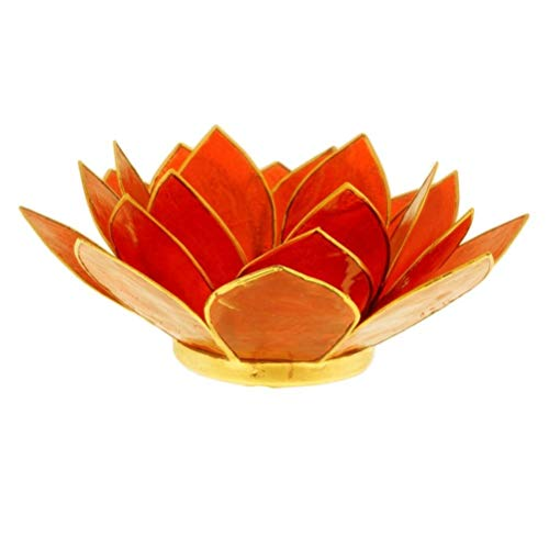 Porte Bougie Fleur de Lotus Orange et Or 2nd chakra
