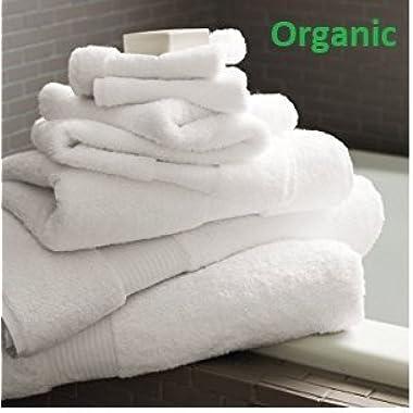 Organic Premium Cotton Towel Set | 3 Piece Distinct Size Set; Durable, Soft, Extra Absorbent, Premium Quality GOTS Certified Organic Cotton; Safe For Kids, Enhanced Luxury For Every Bath Décor (White)