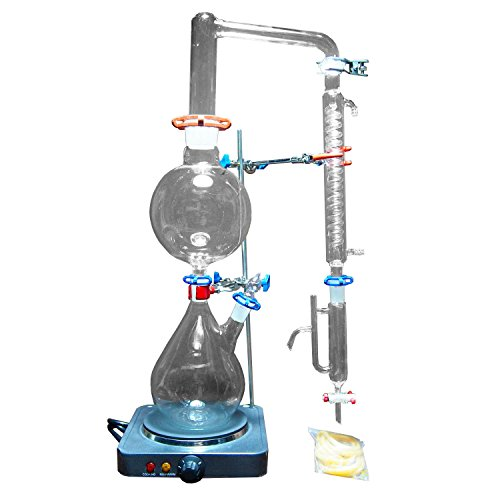 New 2000ml Lab Essential Oil Steam Distillation Apparatus Glassware Kits Water Distiller Purifier w/Hot Stove Graham Condenser S35 And 24/40 Joint