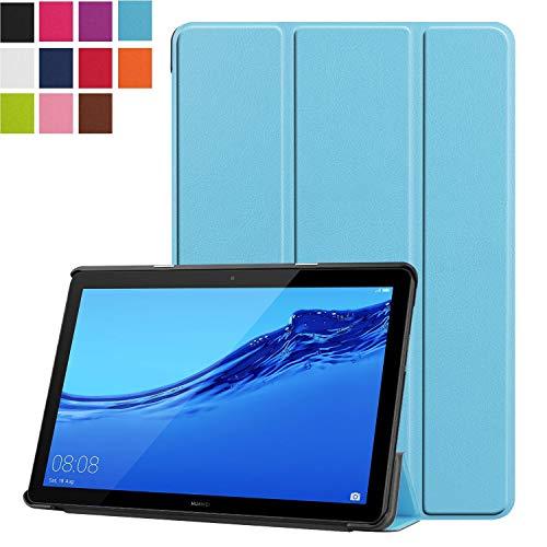 Mediapad T5 10用 ケース LeTrade Huawei Mediapad T5 10 タブレット專用 スタンド 機能付き 三つ折 高級PUレザー 超薄型最軽量 傷つけ防止 保護ケース カバー ライトブルー