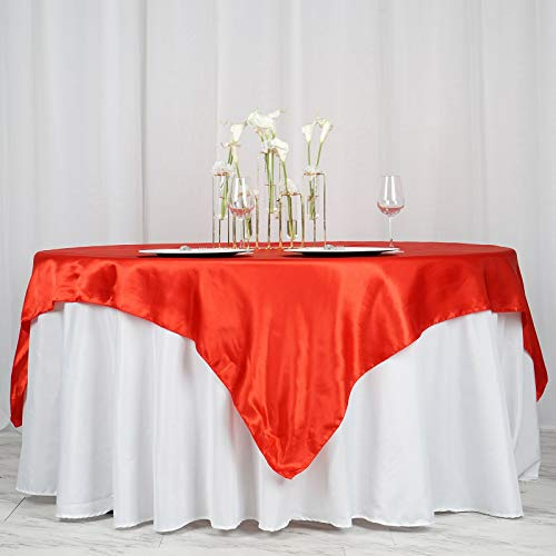 """Weddings Venue Shop Seamless Satin Tablecloth Square Overlay - 72"""" x 72""""   Red   Pack of 1 (Model: LAY72_STN_RED)"""
