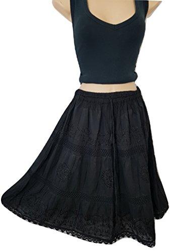 Doorwaytofashion Cotton Summer Skirt Midi Boho Hippie Crochet Lace Tiered One Size 10 12 14 16 18 (Black)