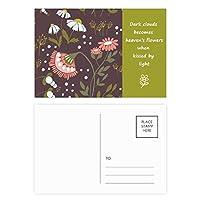 ブラウンの花の植物のペイント 詩のポストカードセットサンクスカード郵送側20個