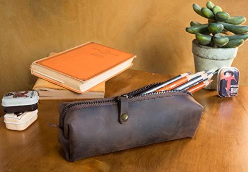Leder Handgefertigte Mäppchen, Bleistift Tasche, Reißverschluss Stift Fall, Dunkelbraun