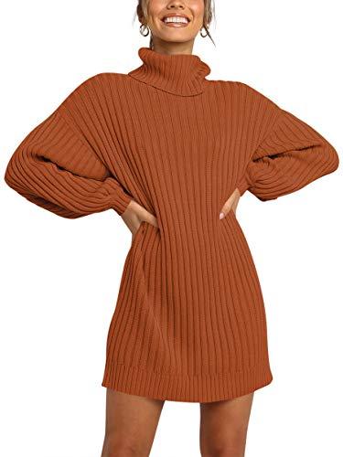 MILLCHIC Women's Casual Sweater Dress Turtleneck Long Sleeve Loose Knit Pullover Dress Tops JH82-24M0-zhuanhong-M Brick Red (Apparel)
