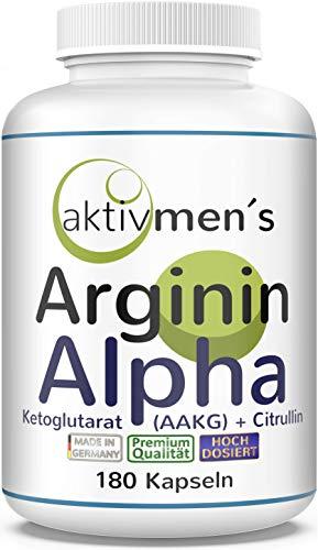 AAKG - aktivmen´s ARGININ ALPHA plus CITRULLIN - HOCHDOSIERT + von Experten* geprüft   180 Kapseln AAKG + L-Citrullin Malat - made in Germany¹ 100% vegan, 1 Dose (1 x 156,6 g)