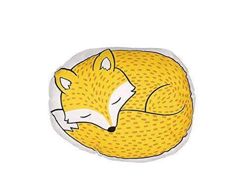 Trendy - Cojín decorativo (algodón, 50 x 40 cm), diseño de zorro, color amarillo