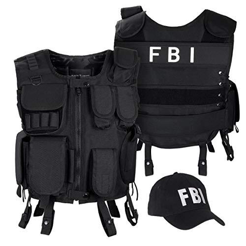 Black Snake SWAT FBI Security Police Agenten Kostüm Einsatzweste und Baseball Cap - XS/S - FBI