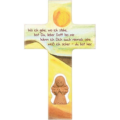 Fritz Cox® 'Wo ich gehe, wo ich stehe' Kinder-Holz-Kreuz mit Engel 20cm (Tonengel)