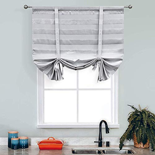 Silver Grey Striped Valances Curtains for Living Room Kitchen , Blackout Tie Up Room Darkening Thermal Insulated Balloon Window Drapes Shades Curtains for Bedroom Nursery Bathroom 63 Inch Rod Pocket