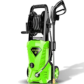 WHOLESUN 3000PSI Electric Pressure Washer 2.4GPM Power Washer 1600W High Pressure Cleaner Machine with 4 Nozzles Foam Cannon,Best for Cleaning Homes Cars Driveways Patios  Green