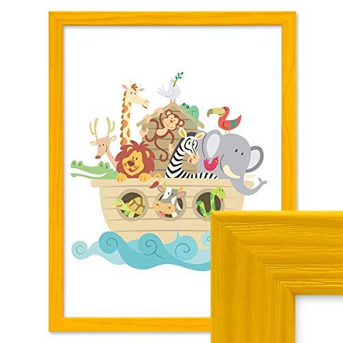 PHOTOLINI Bilderrahmen Gelb 30x42 cm/DIN A3 Massivholz mit Acrylglasscheibe/Fotorahmen/Wechselrahmen