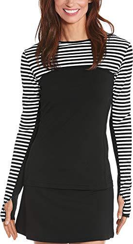 Coolibar UPF 50+ Women's Coastal Convertible Swim Shirt - Sun Protective (Small- White/Black Stripe)
