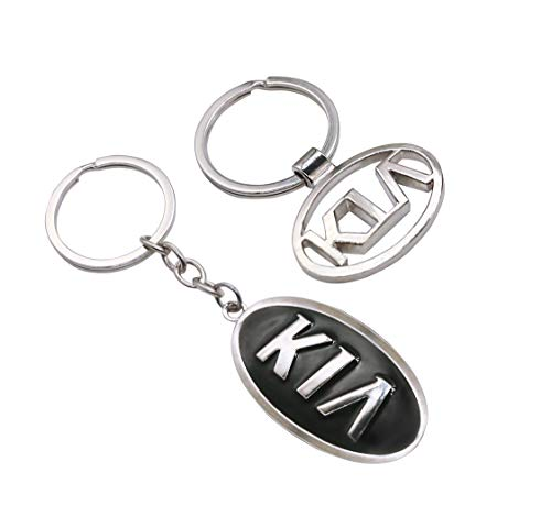 EVPRO 2 Pcs Key Rings with Hollowed 3D Metal Chromed Auto Car Key Chain Fit for KIA Accessories