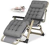 Tumbonas con cojín para la Cabeza Silla reclinable Plegable Zero Gravity Lounge Chair Oversize XL, Tumbonas Cojín de algodón para jardín, Exterior, Patio, Cama, reclinable, Carga hasta 300 kg
