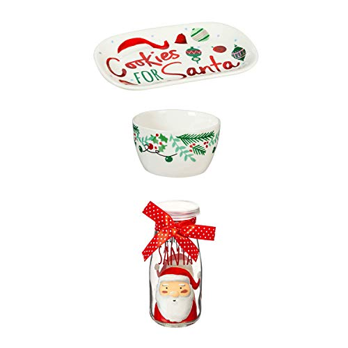 Cypress Home Beautiful Christmas Novelty Collection Cookies for Santa Gift Set - 5 x 3 x 5 Inches Indoor/Outdoor home goods For Kitchens, Parties and Homes