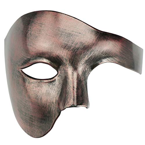 Half Face Men's Phantom of The Opera Vintage Design Venetian Carnival Masquerade Mask (Antique...