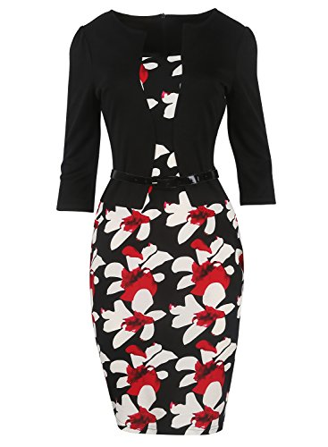 Women Retro Floral One-Piece Wear to Work Business Evening Party Dress Black M