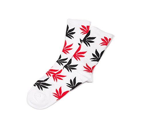 Calcetines unisex Highlife, hoja de cannabis, cómodos, altura media, hombres, mujeres, de Morefaz Negro Blanco Mixto Regular