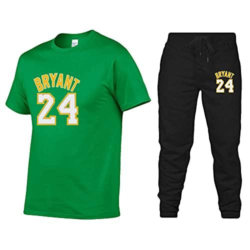 Lakers #24 Bryant ropa deportiva, marca de moda de los hombres impreso verano de manga corta camiseta traje casual deportes guapo camiseta pantalones de dos piezas corriendo fitness verde-S