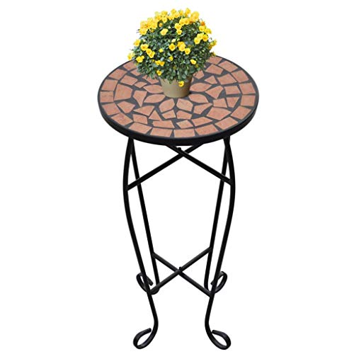 SOULONG Mosaiktisch Garten Blumentisch Blumenständer keramische Fliesen und Eisenrohr Durchmesser 30 cm x Höhe 60 cm Terrakotta