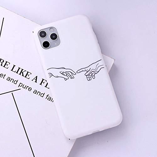 DEIOKL Lover Hand Line Funda de teléfono Simple para iPhone 12 11 Pro MAX X XS XR MAX 7 8 7Plus 8Plus 6S SE Funda de Caramelo de Silicona Suave, 9, para iPhone XS MAX