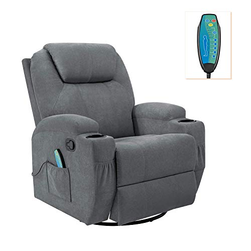 Flamaker Rocking Chair Recliner Chair with Massage and Heating 360 Degree Swivel Ergonomic Lounge Chair Classic Single Sofa with 2 Cup Holders Side Pockets Living Room Chair Home Theater Seat (Gray)