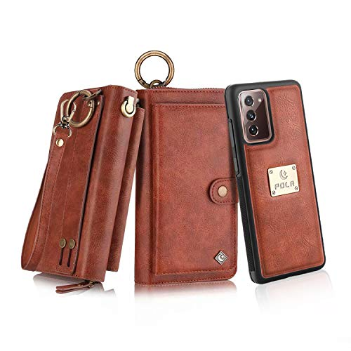 Petocase Compatible Galaxy Note 20 Wallet Case, Multi-Functional PU Leather Zip Wristlets Clutch Detachable Magnetic Card Slots Cash Purse Protection Cover for Samsung Galaxy Note 20 Brown