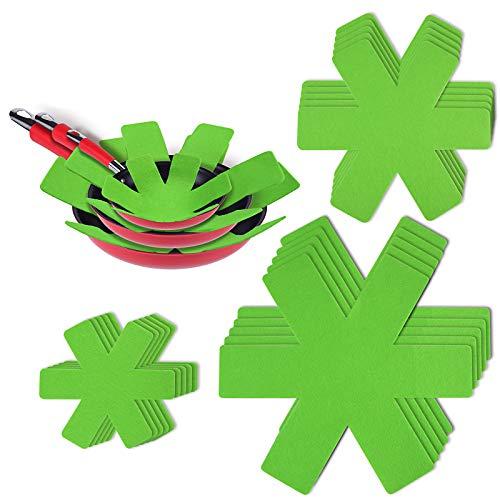 flintronic Separatori Pentole - Proteggi Pentole e Salvapadelle - Set 15 Pezzi (3 Misure, 38/28/18CM) - Perfetti per Pentole e Padelle Antiaderenti in Acciaio Inox, Ghisa, Ceramica (Verde)