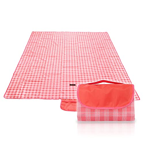 YACSEJAO Coperta da picnic all aperto, lavabile in lavatrice, pieghevole, coperta da picnic, impermeabile, resistente all acqua, per campeggio, famiglia (rosso)