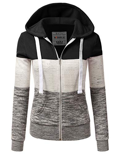 Doublju Lightweight Thin Zip-Up Hoodie Jacket for Women with Plus Size Black Small