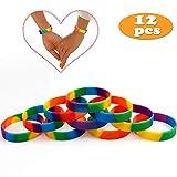 vamei Pulseras Rainbow de Orgullo Gay 6 Colores Pulseras de Caucho de Silicona LGBT Party Pulseras Covenant de Yahweh - 12 Piezas