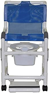 MJM International 118-3TW-DDA-SF-SQ-PAIL Standard Shower Chair with Drop Arms, Slide Out Footrest and Commode Pail, 300 oz Capacity, 40.5