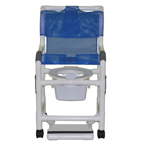 MJM International 118-3TW-DDA-SF-SQ-PAIL Standard Shower Chair with Drop Arms, Slide Out Footrest and Commode Pail, 300 oz Capacity, 40.5' Height x 22' Width x 25.25' Depth, Royal Blue/Forest Green/Mauve