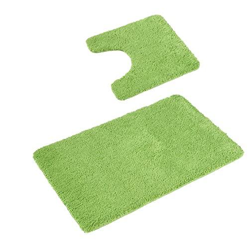 PANA 'Florenz' Badeteppich-Set • Flauschige Vorleger für Badezimmer und WC • Badteppich rutschfest & waschbar • Set: 45 x 45 cm mit WC Ausschnitt + 50 x 80 cm • Farbe: Grün