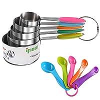 ipow 2 in1 5 misurini di tazze e 5 misurini cucchiai cup misurino cucchiaio dosatore in acciaio inox americano con manici antiscivolo per cucina cottura per misurare gli ingredienti
