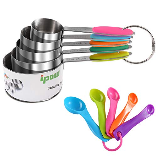 Ipow[10 PCS] - Set de Acero Inoxidable Tazas y Cucharas medidoras para Cocina Cucharas Hogar