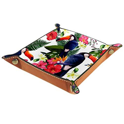 Eslifey - Bandeja organizadora de flores tropicales para mesilla de noche, bandeja de escritorio, monedero o monedero, 20,5 x 20,5 cm, Piel de microfibra., multicolor, 16x16cm