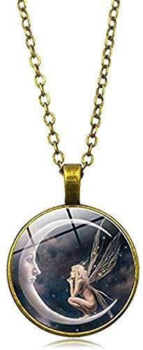 BEISUOSIBYW Co.,Ltd Collar de Moda Hada Luna Foto Collar Joyas de Ángel Media Luna Colgante Cristal Convexo Collar de Cadena de Plata sin Cuello