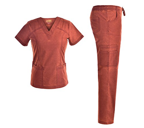 V Neck Stretch Women Set - Multiple Pockets Women Workwear Uniforms JS1609 (Cinnabar, L)