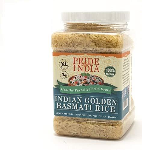Pride Of India - extralange Goldener indischer Basmati-Reis - 3,3 lbs (53 Unzen) jar - gesünder, straff Parboiled Sella -Low glykämischen Wert beschneidet - Dill Reis, etc Afgani Pulao