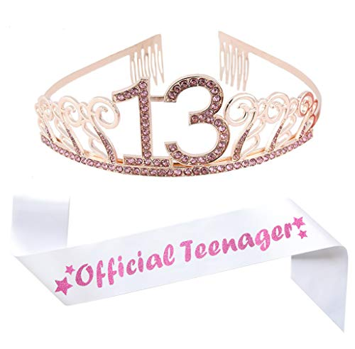 13th Birthday Pink Tiara and Sash